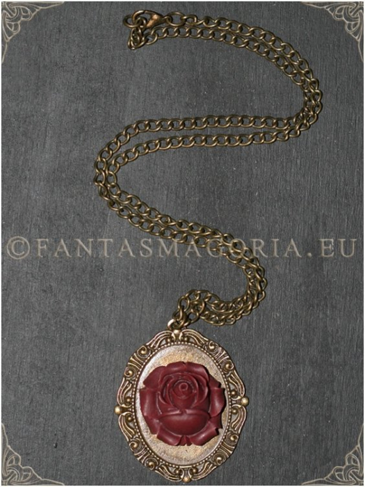 Wine Rose Steampunk pendant on a metal chain 1