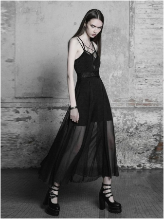 Black Swan long dress OPQ-347/BK Punk Rave1