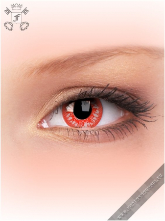 Blood Shot Rage red-white colored 1-day crazy contact eye lenses pair, no dioptres0