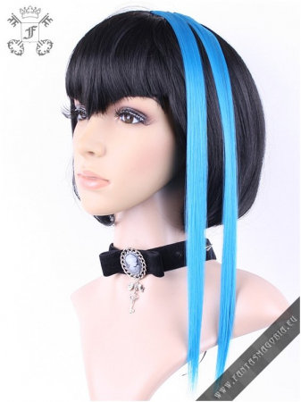 Clip-in turquoise blue hair extensions (pair)0
