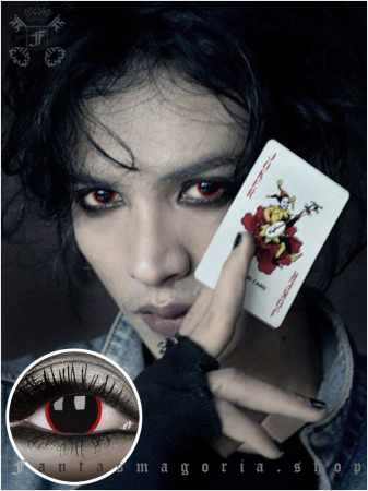 Hellraser black with red ring colored 1-year contact eye lenses pair, no dioptres2