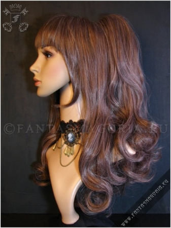 Pastel brown wig with curly ponytails1
