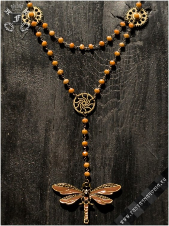 Steampunk Dragonfly rosary necklace0