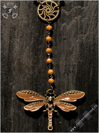 Steampunk Dragonfly rosary necklace1