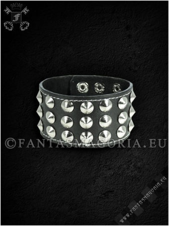 Three rows conical studs wristband2