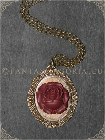 Wine Rose Steampunk pendant on a metal chain0