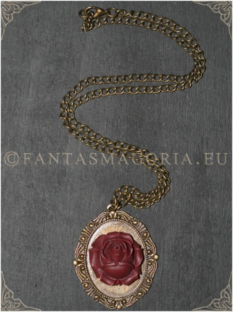 Wine Rose Steampunk pendant on a metal chain1