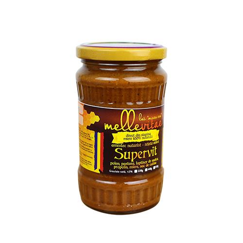 Mix nutritiv si protectia sistemului digestiv cu miere,polen,pastura,laptisor de matca si propolis, Supervit, Mellevitae, 400g gr