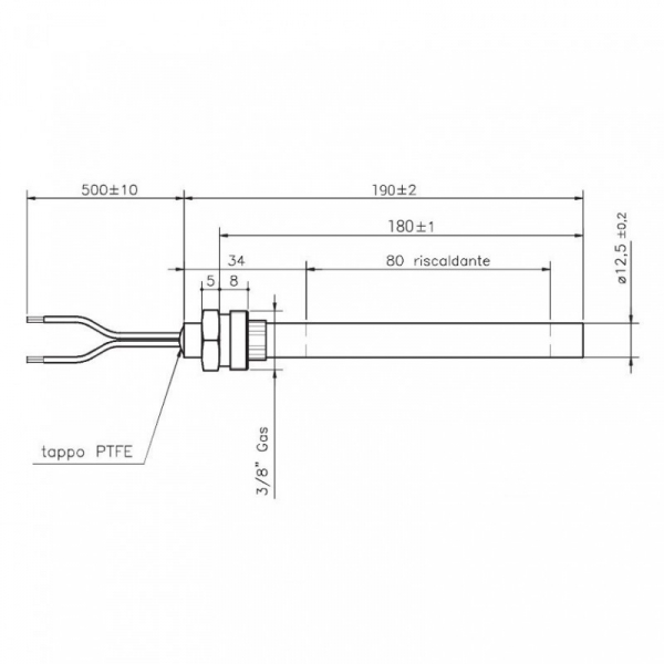 Rezistenta cu filet 3/8 12,5mm 190mm 350w [1]