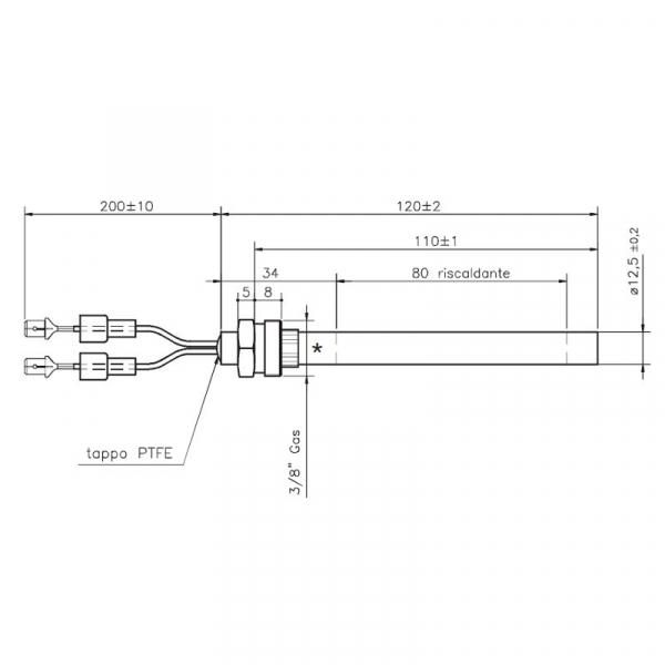 Rezistenta cu filet 3/8 12,5mm 120mm 235w (HT57868) [1]