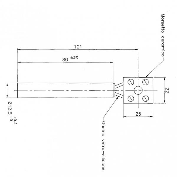 Rezistenta lineara 12,5mm 80mm 250wati 1