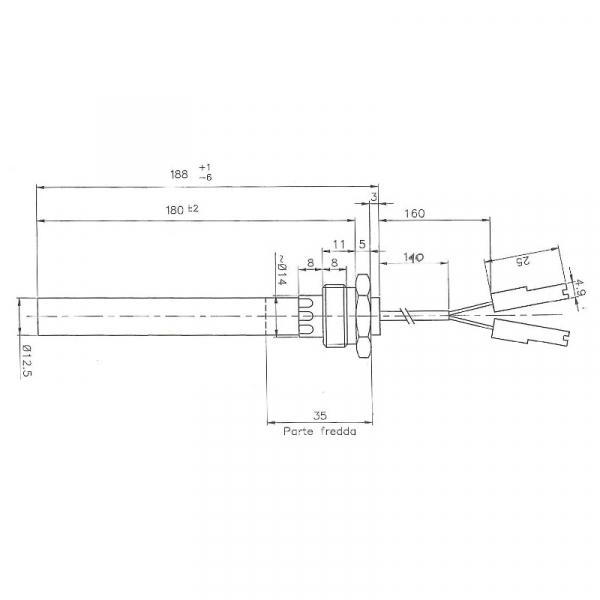 Rezistenta cu filet 1/2 12,5mm 188 350w 1
