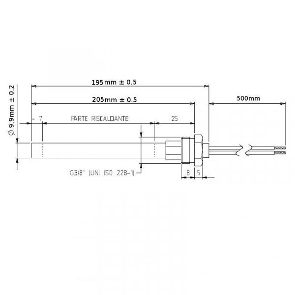 Rezistenta cu filet 3/8 9,9mm 205mm 350w 1