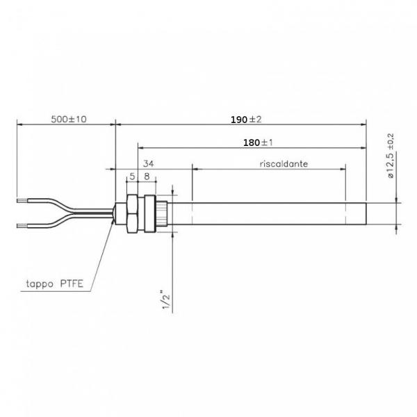 Rezistenta cu filet 1/2 12,5mm 190mm 450w [1]