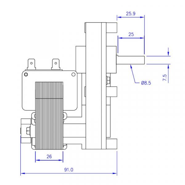 Motor reductor snek, centrale peleti, 2,5 rpm, ax 8,5mm [2]