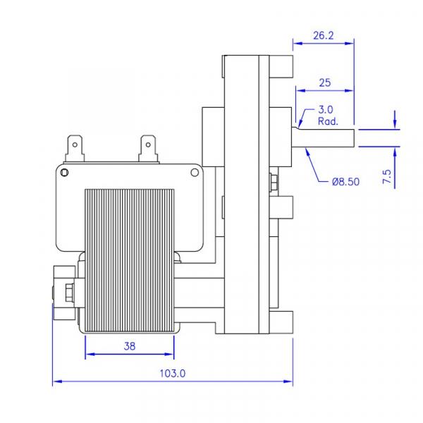 Motor reductor snek, centrale peleti,4,75 rpm ax8,5mm 1