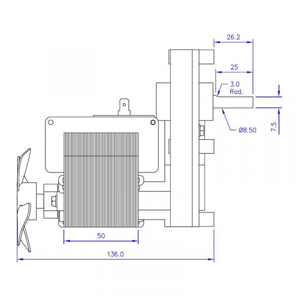 Motor reductor snek, centrale peleti,5,3rpm  ax 8,5mm 2