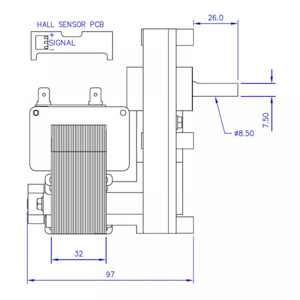 Motor reductor snek, centrale peleti, 3 rpm ax 8,5mm 2