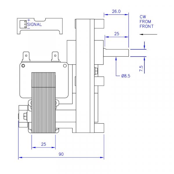 Motor reductor snek, centrale peleti, 2 rpm, ax 8,5mm 3
