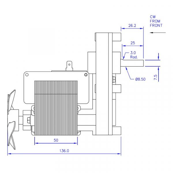 Motor reductor snek, centrale peleti, 8 rpm ax 8,5mm 2