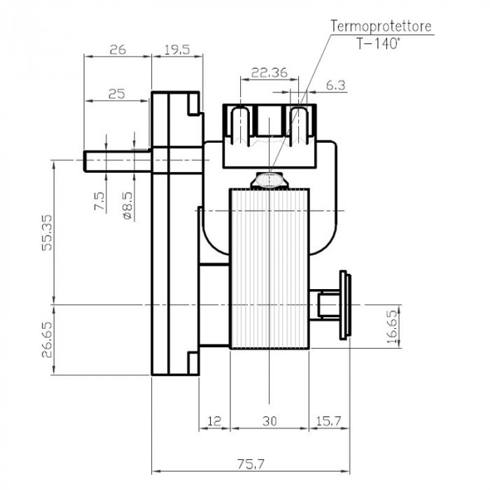 Motor reductor snek, centrale peleti,2,5 rpm ax 8,5mm 1