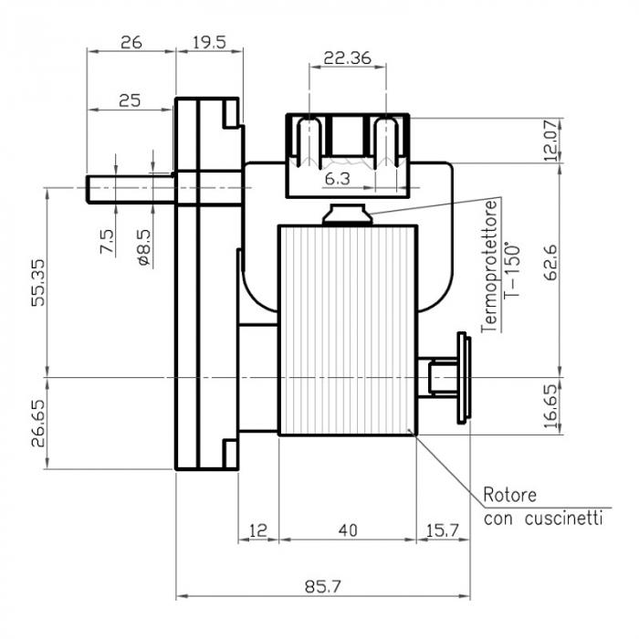 Motor reductor snek, centrale peleti, 5 rpm ax 8,5mm [1]