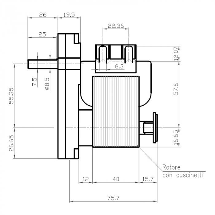 Motor reductor snek, centrale peleti, 8,5 rpm ax 8,5mm [1]