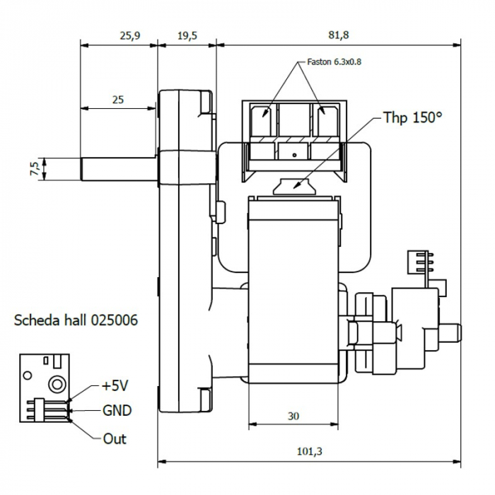 Motor reductor snek, centrale peleti,1,5 rpm ax 8,5mm 2