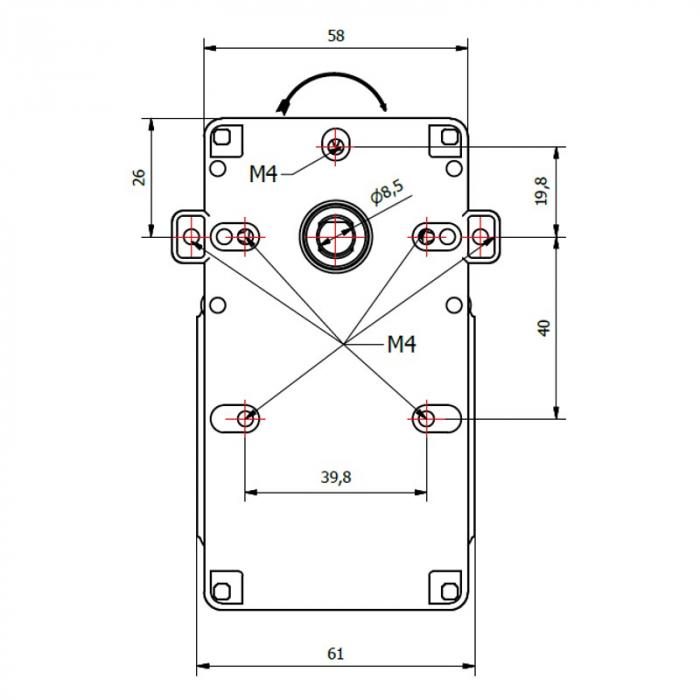 Motor reductor snek, centrale peleti,1,5 rpm ax 8,5mm 3