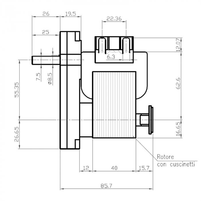 Motor reductor snek, centrale peleti, 12 rpm ax 8,5mm 1