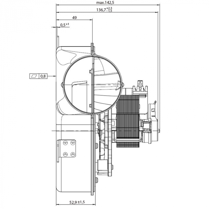 Extractor de fum pentru sobe de peleți. G2E152 / 0020-3030LH-609 1