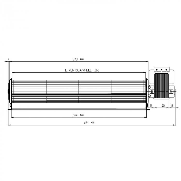 Ventilator tangențial pentru semineu cu peleți TGA 60 / 1-360 / 40 EMMEVI - FERGAS 114503X 1