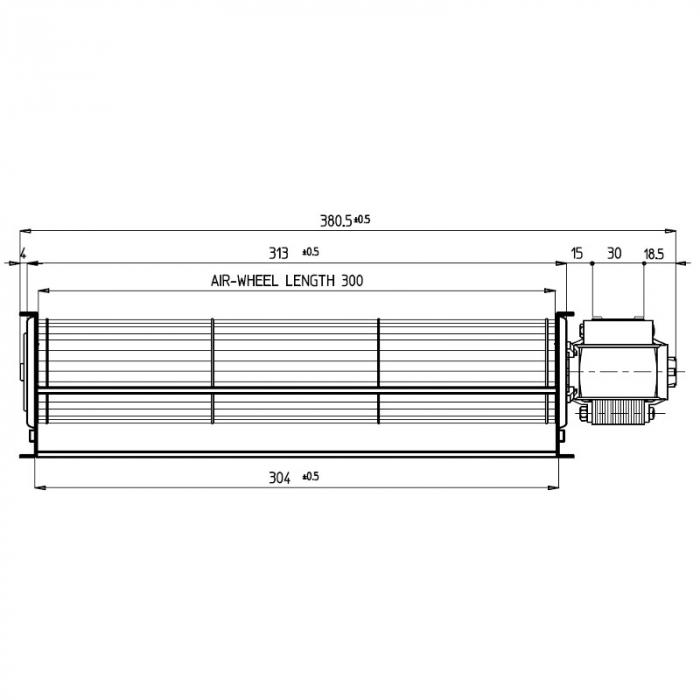 Ventilator tangențial pentru semineu cu peleți TGA 60 / 1-300 / 30 EMMEVI - FERGAS 113842 1