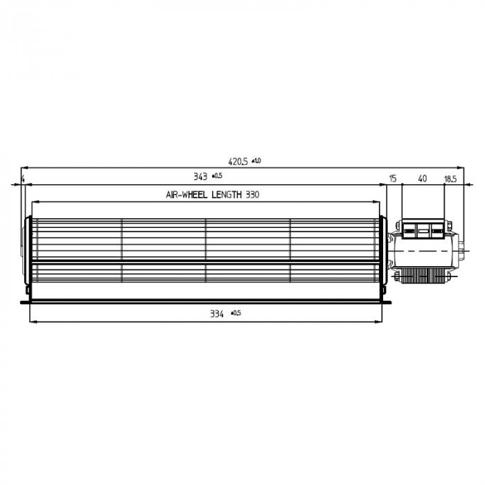 Ventilatorul tangențial pentru semineu cu peleți TGA 60 / 1-330 / 40 EMMEVI - FERGAS 114205 1