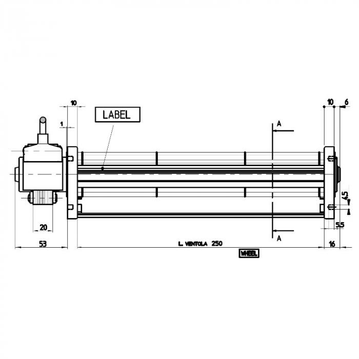 Ventilator tangențial pentru semineu cu peleți TGO 45 / 1-250 / 20 EMMEVI - FERGAS 103401 1