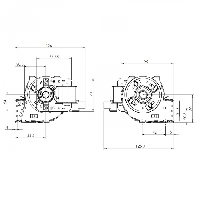 Ventilatorul tangențial pentru semineu cu peleți TRIAL THS24B6-026 - TFA661-D6 3
