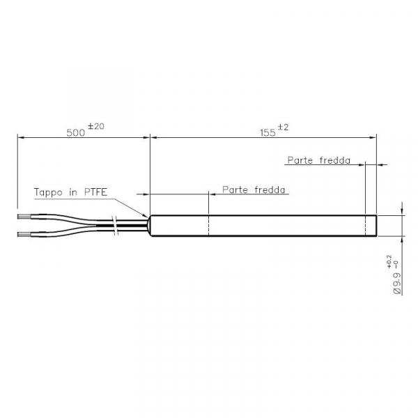 Rezistenta 9,9mm 155mm,300w  UTXS 022581 1