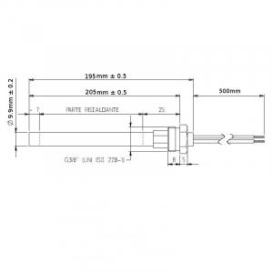 Rezistenta cu filet 3/8 9,9mm 205mm 350w1