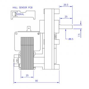 Motor reductor snek, centrale peleti, 1,5 rpm, ax 8,5mm2