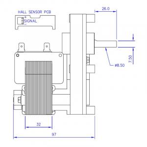 Motor reductor snek, centrale peleti, 3 rpm ax 8,5mm2