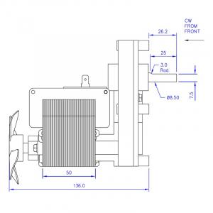 Motor reductor snek, centrale peleti, 8 rpm ax 8,5mm2