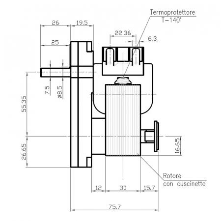 Motor reductor snek, centrale peleti,1,5 rpm ax 8,5mm1