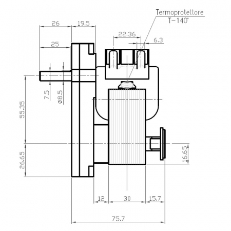 Motor reductor snek, centrale peleti,2,5 rpm ax 8,5mm1