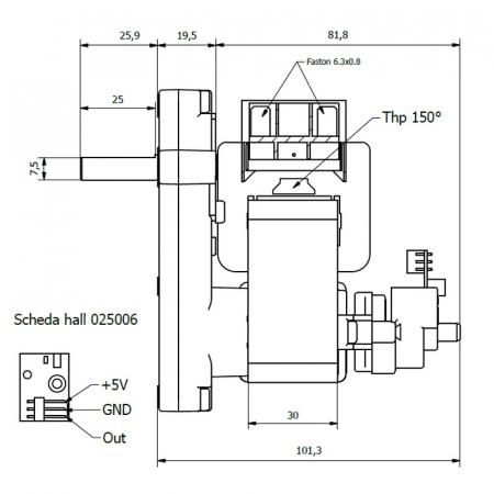 Motor reductor snek, centrale peleti,1,5 rpm ax 8,5mm cu encoder2