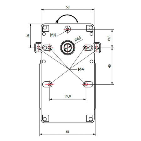 Motor reductor snek, centrale peleti,1,5 rpm ax 8,5mm cu encoder3