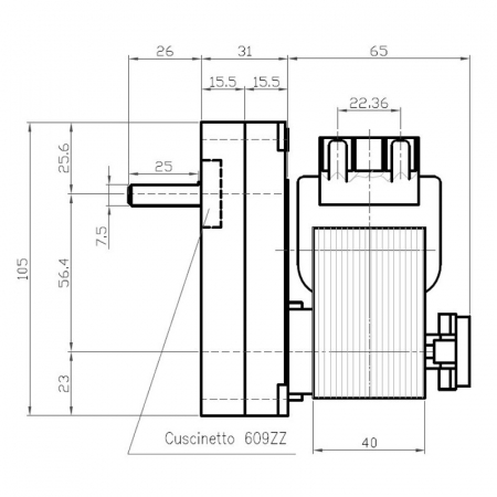 Motor reductor snek, centrale peleti, 5 rpm ax 8,5mm  K91773101