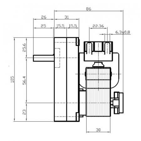 Motor reductor snek, centrale peleti,2,5 rpm ax 8,5mm   K9175160 [1]