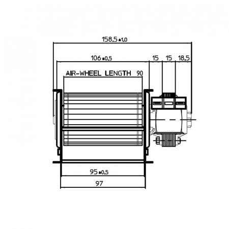 Ventilator tangențial pentru semineu cu peleți TGA 60 / 1-90 / 15 EMMEVI - FERGAS 1122171
