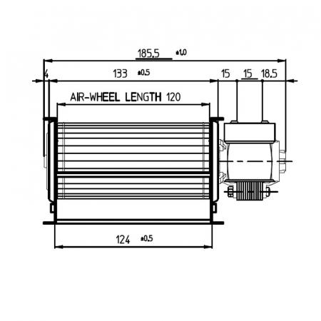 Ventilator tangențial pentru semineu cu peleți TGA 60 / 1-120 / 15 EMMEVI - FERGAS 1124181
