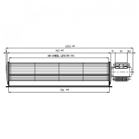 Ventilatorul tangențial pentru semineu cu peleți TGA 60 / 1-330 / 40 EMMEVI - FERGAS 1142051
